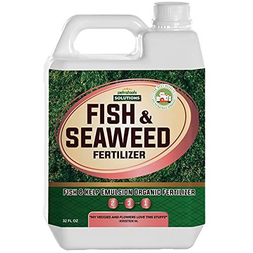 PetraTools Liquid Fish & Seaweed Fertilizer, Fish Emulsion Organic Fertilizer for Vegetables, Fruits & Plants, Liquid Seaweed Fertilizer, Fish Fertilizer for Plants, Liquid Sea Kelp Fertilizer (32 oz)