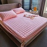 XLMHZP Transpirable Protector de colchón,Funda de colchón Acolchada Gruesa Sábanas Acolchadas Grandes de Color sólido...