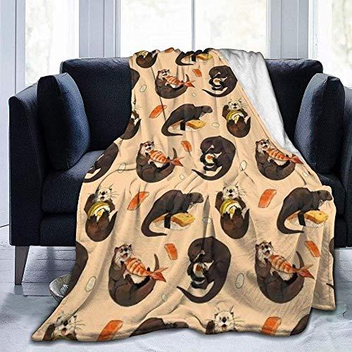 HDAXIA Decke Kuscheldecke,Winzige Otter und Ihr Sushi, warmes ultraweiches Flanellvlies Leichte Decke Schlafsofa Wohnzimmer Schlafzimmer für Erwachsene Kinder