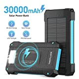 Solar Power Bank 30000 mAh,Wireless Portable Charger Solar Panel External Battery Type-C 5V Dual USB with LED Flashlight(Waterproof,Dustproof,Shockproof) Compatible iOS & Android Camping.(Black)