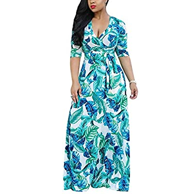 Muranba Womens Plus Size Sexy Loose Beach Dress Sleeveless Strappy Bohemian Lightweight V Neck Print Party Boho