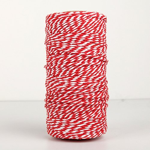 NewTrend 328 Feet Cotton Twine for DIY Craft, Packing, Decoration and Gardening,3Ply Durable String and Eco-Friendly(Red)