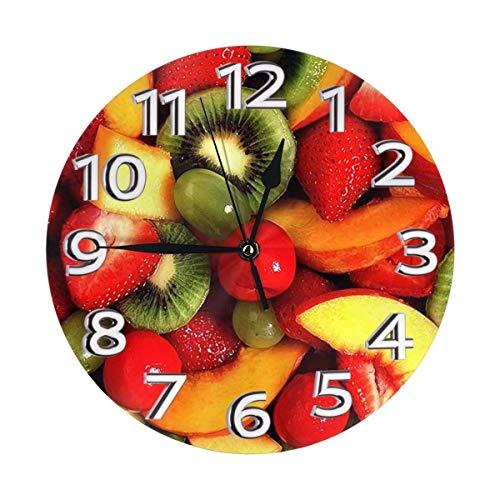 Reloj de Pared de Frutas y Verduras Frescas - Decorativo Redondo fácil de Leer para la Escuela de Oficina en casa