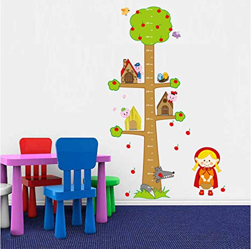 hfwh Muurstickers Cartoon dieren Apple Tree Hoogte Measure for Kids Room Bedroom Kinderdagverblijf Eco-Friendly Vinyl Art Decals 60 x 90 cm