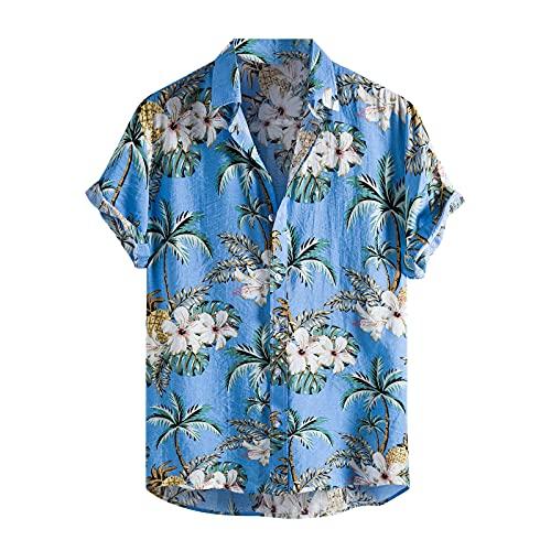 feftops Camisa Hawaiana Hombre Verano Estampada de Manga Corta Vintage Elegante Solapa Casual Blusa Cómoda y Fresca Suelta Camisa Playera Top