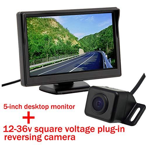 Vue arrière de la voiture caméra étanche 170 degrés de large angle de visualisation inverse sauvegarde CMOS / CCD Moniteur de caméra de recul pour le stationnement avec 5 pouces couleur TFT LCD Moniteur de vue arrière de voiture Écran de moniteur de recul de stationnement pour DVD VCD Caméra de recul