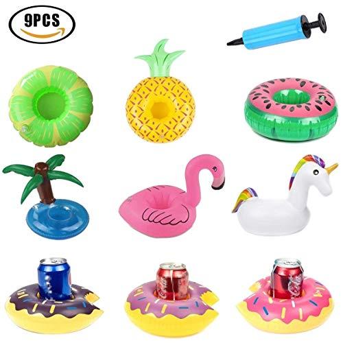 9 x aufblasbare Getränkehalter Flamingo schwimmende Untersetzer Schwan Schwimmbad Strand Party Becherhalter Glashalter mit Luftpumpe