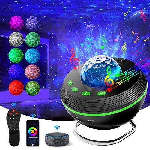 Neue LED Projektor Sternenhimmel, Ocean Wave Kinder Nachtlicht Sterne Projektor Lampe, Fernbedienung Musik Player mit Bluetooth & Wi-Fi & Timer & Fernbedienung für Party Geburtztag Weihnachtstag