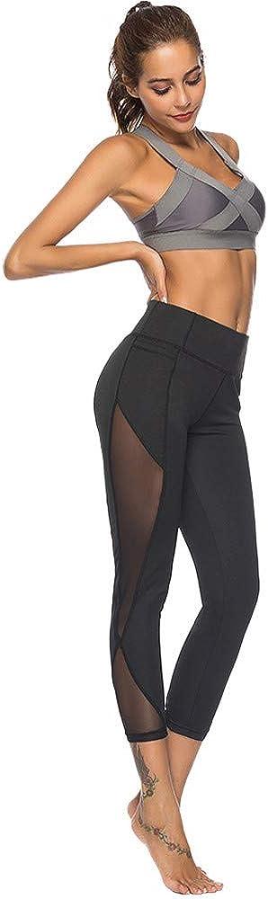 FUNEY Yoga Pants for Women High Waisted Leggings Women's Stretchy Skinny Sheer Mesh Insert Workout Yoga Tights