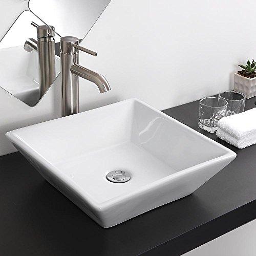 "Aquaterior Square White Porcelain Ceramic Bathroom Vessel Sink Bowl Basin with Chrome Drain 16-1/7""x16-1/7""x4-1/3""H"