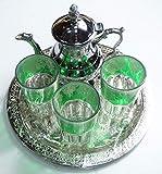 kenta artesanais Juego de té marrakchi, Bandeja repujada 25 cm x 3 Vasos x Tetera pequeño para 3