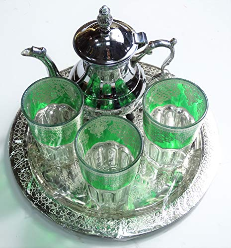 KENTA TÉS Marokkanisches Teeservice: Platte 25 cm + 3 Gläser + Teekanne für 3 Artesanal grün