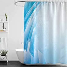 Tim1Beve Shower stall Curtains,Abstract Ocean Inspired Aquatic Design Fractal Shapes Curve Little Dots Energy Flow,Fabric Shower Curtain Bathroom,W55x86L Aqua Light Blue