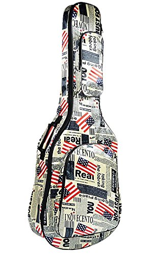 (ラクエスト) Laquest 防水 背負える アコギ ギグバッグ 星条旗 英字新聞 迷彩 リュック タイプ 2WAY ソフト ギター ケース アコースティック クラッシック ギター 保護 運搬 個性派柄 カモフラージュ 国旗 (星条旗)