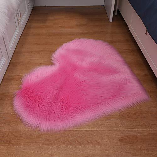 ZXXY Alfombra de Piel Artificial, Alfombra de Alfombra esponjosa en Forma de corazón en la Alfombra de Piel Artificial de la Oficina del Dormitorio en casa - Rojo Rosa