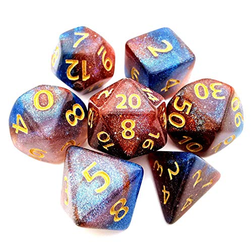 HAOMEJA Change Color Irregular dice DND Dice Set 7pcs D&D Dice for Dungeons and Dragons RPG Gameplay Dice (Blue Brown)