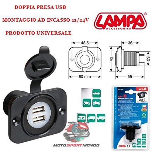 Prise avec Double USB Scooter 39005 Lampa EXT-8 Noir avec Couvercle de Fermeture Montage à encastrer 12/24 V Max 2 x 2100 mA
