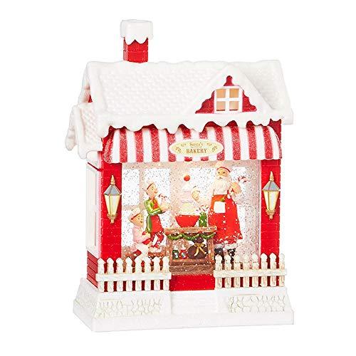 Raz Santa's Bakery 4000765 Wasserkugel mit Musik, beleuchtet, 25,4 cm, mehrfarbig