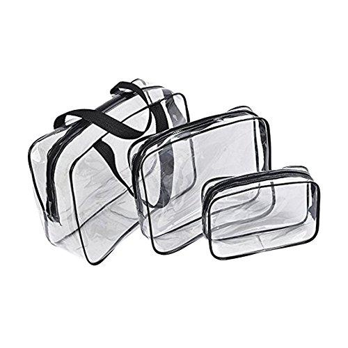 3 bolsas de almacenamiento de maquillaje para cosméticos con asas de color negro y transparente