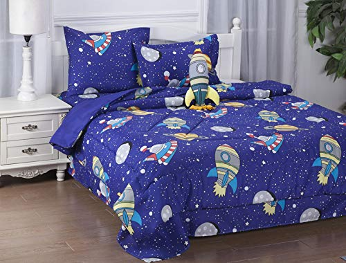 GorgeousHomeLinen 6-8PC Twin/Full Complete Bed in A Bag Comforter Bedding Set with Furry Friend and Matching Sheet Set for Kids (Space Sky Rockets, Twin)
