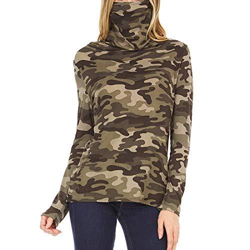 Suéter con Cuello de Tortuga para Mujer Top de Cuello Jersey Ligero de Manga Larga Jersey de Punto Prendas de Punto Camiseta de Camuflaje con Estampado de Leopardo y teñido Anudado de tamaño Completo