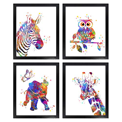 Dignovel Studios Unframed (Set of 4) 8X10 Baby Animals Watercolor Art Print Set Nursery Decor Zebra Owl Elephant Giraffe dnc8