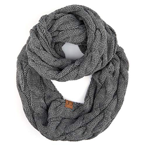 Hatsandscarf C.C Exclusives Solid and Multi Color Cable Kint Infinity Scarf (Lt. Mel Grey)