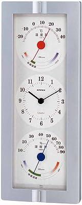 EMPEX(エンペックス) ウェザータイム 壁掛け用温度・湿度計 時計表示付き シルバーメタリック TQ-723