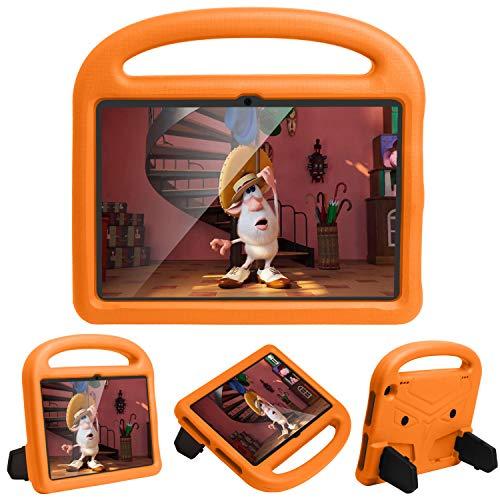 FSCOVER Funda Infantil para Amazon Fire HD 8/Fire HD 8 Plus (10ª generación, Lanzamiento de 2020), Estuche Niños Prueba de Golpes con Asa Suave Soporte Plegable, Carcasa Bebé Ligera, Naranja
