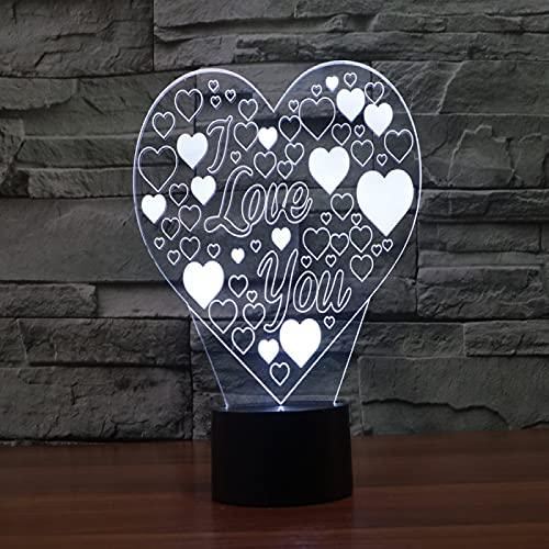 Yyhmkb De Mesa Moderna Kawaii Lampara De Mesa Infantil Helado Interruptor Amor Colorido 3D Luz Táctil Luz Visual Led Gradiente Colorido Luz Nocturna