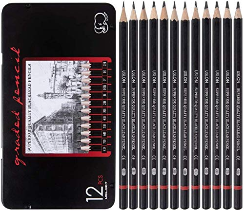 Professional Drawing Sketching Pencil Set - 12 Pieces Art Drawing Graphite...