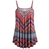 Lazzboy Women Vest Tops Plus Size Ethnic Stripes/Flower Print Bow Sleeveless Straps Loose Ladies T-Shirt Tee Camisole(Red-Ethnic Stripes,L(12))