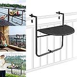 LARS360 Balkonhängetisch Einhängen Klapptisch 3-Fach höhenverstellbar Klappbar Balkontisch aus Matall für Outdoor, Balkon, Terrasse