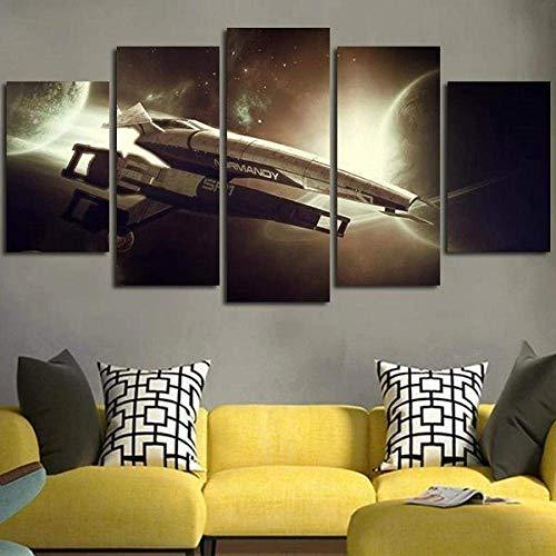 Airxcn Cuadro de Lienzo Paneles de 5 Partes Mass Effect Normandy SR1 Panel de Pared Papel Tapiz HD Impresión Dormitorio Cocina Arte Decoración Foto Arte Fondo de Pared Regalo