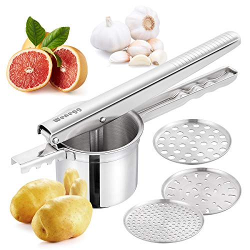 Potato Ricer Masher with 3 Interchangeable Strainer Fine Medium Coarse  Premium Food Grade Stainless Steel  Super Easy to Make Mashed Potatoes and Baby Food