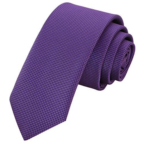 GASSANI Corbata de rejilla estrecha y extra larga de 6 cm, estructurada. Morado violeta con lavanda. Small
