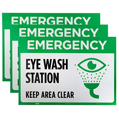 Emergency Eye Wash Station Decal Sign 3-Pack - 10' x 7' Stick-on Reflective Sturdy Safety Warning Sign for OSHA Compliance in STEM Science Classroom Area and Chemical Hazard Research Laboratories