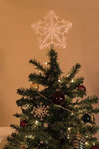Clever Creations - Adorno para coronar el árbol de Navidad - Ideal para árboles de Cualquier tamaño - Plástico Brillante Resistente a los Golpes - Estrella Blanca - 20,3 cm