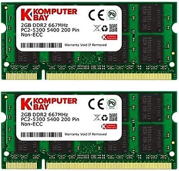Komputerbay 4GB 2X 2GB DDR2 667MHz PC2-5300 PC2-5400 DDR2 667  200 PIN  SODIMM Laptop Memory