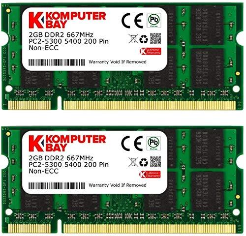 Komputerbay Arbeitsspeicher 4GB 2X2GB DDR2 667MHz PC2-5300 CL5 SO-DIMM (200-PIN, für Notebooks) Laptop - SODIMM Speicher