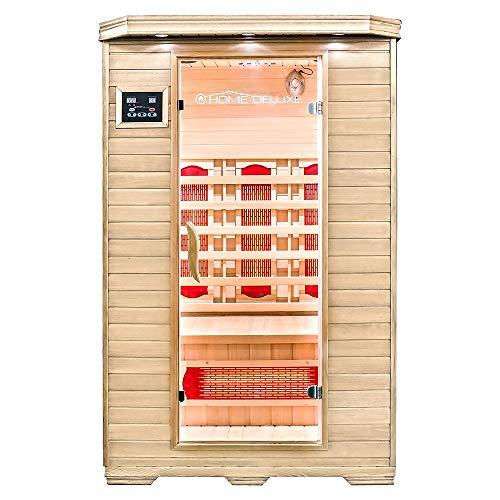 Home Deluxe – Infrarotkabine – Redsun M – Vollspektrumstrahler – Holz: Hemlocktanne - Maße: 120 x 105 x 190 cm – inkl. vielen Extras und komplettem Zubehör (V2)