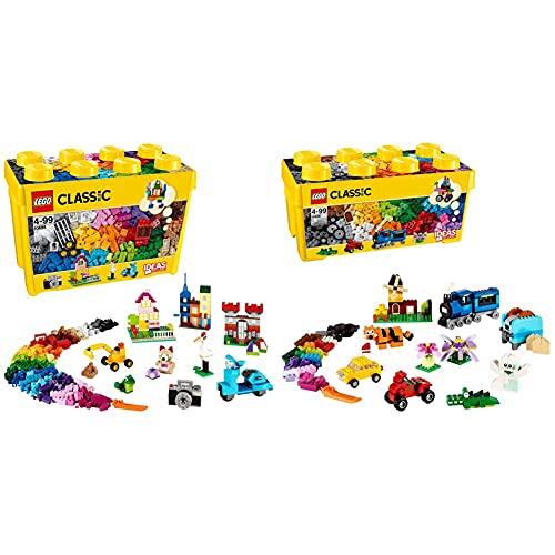 LEGO Classic ScatolaMattonciniCreativiGrande, Set Di Costruzioni Divertenti, Contenitore Giocattoli Colorati & Classic ScatolaMattonciniCreativiMediaPer Liberare La Fantasia