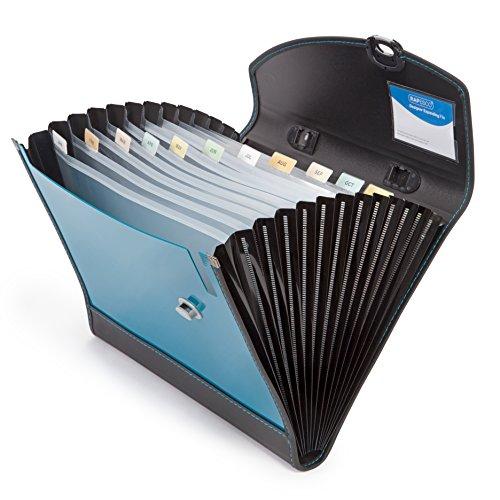 Rapesco Documentos - Carpeta archivadora tipo acordeon A4 con 13 compartimentos, color Azul (Turquese)/Negro