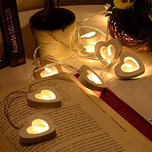 10 LED Wooden Heart Fairy Lights Battery Operated,Indoor Outdoor Decorative String Lamp for Christmas Valentine's Day Wedding Garden Festival Birthday Party Decoration (Warm White)