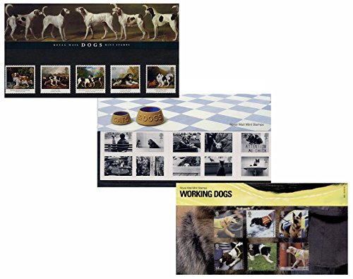 Juego de tres perros Royal Mail medinc sello presentación paquetes