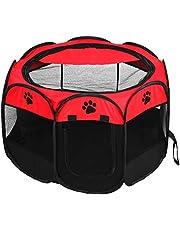 Parque para Mascotas, Plegable para Mascotas, Cachorro, Perro, corralito para Ejercicio, Perrera, Tienda de Malla al Aire Libre para Perros/Gatos/Conejos/Mascotas(Rojo)