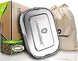 LÖWENKÖNIG® NEU - Robuste, Plastikfreie Edelstahl Brotdose Auslaufsicher 1200ml + Trennwand & Beutel - Die verbesserte Lunchbox ist kinderleicht zu Reinigen Kinder & Erwachsene