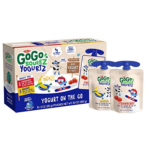 GoGo SqueeZ YogurtZ on the Go, Variety Pack (Strawberry/Banana), 3.2 Ounce Portable BPA-Free Pouches, Gluten-Free, 10 Total Pouches