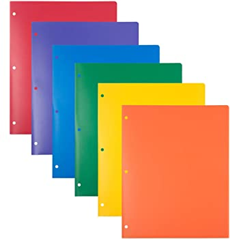 JAM PAPER Heavy Duty Plastic 3 Hole Punch School Folders with Pockets - Assorted Primary Colors - 6/Pack