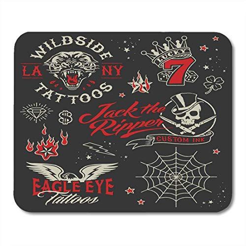 Mauspads Schädel Lucky Vintage Tattoo Salon Grafik Panther Feuer Mauspad für Notebooks, Desktop-Computer Mausmatten, Büromaterial